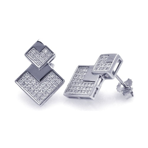 Wholesale Sterling Silver 925 Rhodium Plated Micro Pave Clear Graduate Square CZ Stud Earrings - ACE00036