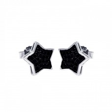 Wholesale Sterling Silver 925 Rhodium Plated Black CZ Micro Pave Star Stud Earrings - ACE00037BLK