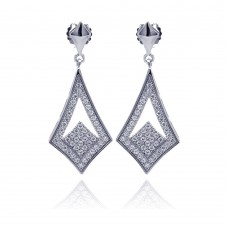 Wholesale Sterling Silver 925 Rhodium Plated Micro Pave Clear Open Sharp Marquis CZ Dangling Stud Earrings - ACE00039