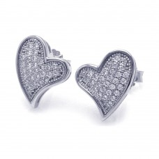 Sterling Silver Rhodium Plated Micro Pave Clear Curvy Heart CZ Stud Earring ace00040