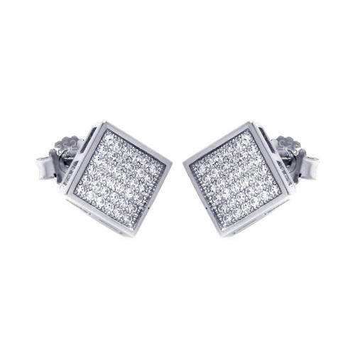 Wholesale Sterling Silver 925 Rhodium Plated Micro Pave Clear Square CZ Stud Earrings - ACE00041