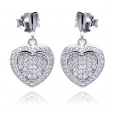 Sterling Silver Rhodium Plated Micro Pave Heart Clear CZ Dangling Stud Earring ace00042