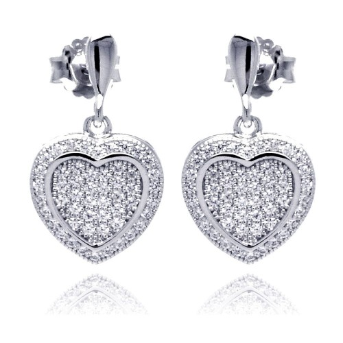Wholesale Sterling Silver 925 Rhodium Plated Micro Pave Heart Clear CZ Dangling Stud Earrings - ACE00042