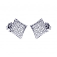 Sterling Silver Rhodium Plated Micro Pave Clear Square CZ Stud Earring ace00043