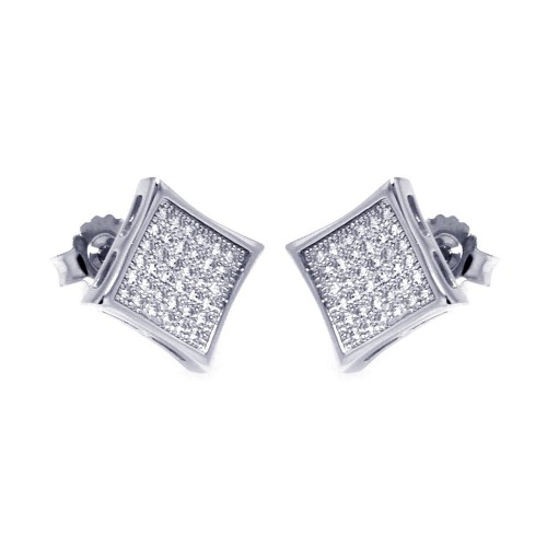 Wholesale Sterling Silver 925 Rhodium Plated Micro Pave Clear Square CZ Stud Earrings - ACE00043