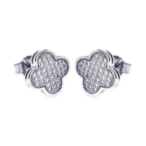Wholesale Sterling Silver 925 Rhodium Plated Micro Pave Clear Clove CZ Stud Earrings - ACE00044