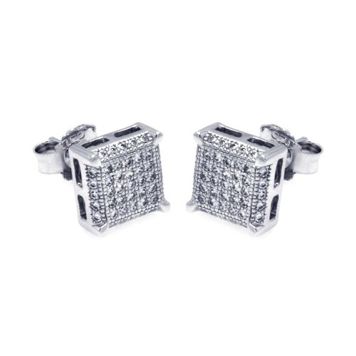 Wholesale Sterling Silver 925 Rhodium Plated Micro Pave Clear Square CZ Stud Earrings - ACE00045