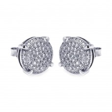 Sterling Silver Rhodium Plated Micro Pave Clear Circle CZ Stud Earring ace00046