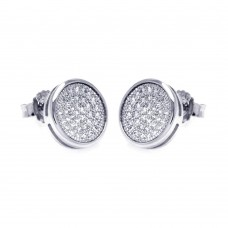 Sterling Silver Rhodium Plated Micro Pave Clear Circle CZ Stud Earring ace00047