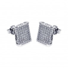 Wholesale Sterling Silver 925 Rhodium Plated Micro Pave Clear Square CZ Stud Earrings - ACE00048