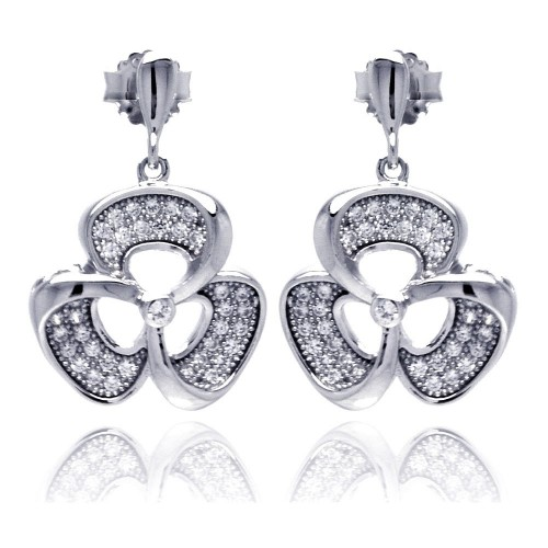 Wholesale Sterling Silver 925 Rhodium Plated Micro Pave Clear Flower CZ Dangling Stud Earrings - ACE00049