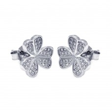 Sterling Silver Rhodium Plated Micro Pave Clear Clover CZ Stud Earring ace00050