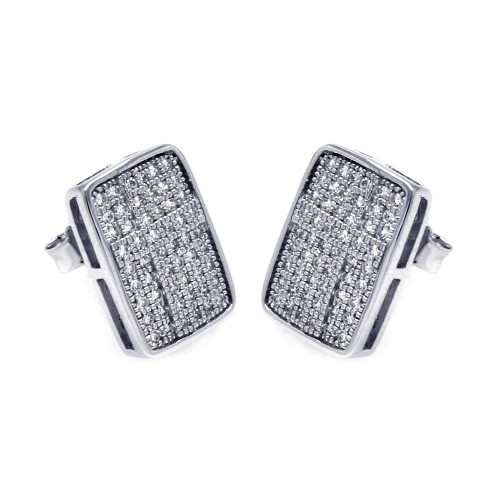 Wholesale Sterling Silver 925 Rhodium Plated Micro Pave Clear Rectangle CZ Stud Earrings - ACE00051