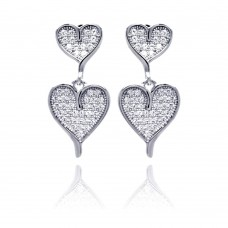 Sterling Silver Rhodium Plated Micro Pave Clear Graduated Heart CZ Dangling Earring ace00052