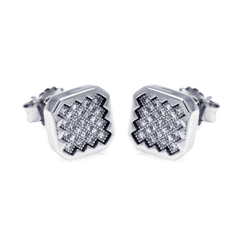 Wholesale Sterling Silver 925 Rhodium Plated Micro Pave Clear Sun Square CZ Stud Earrings - ACE00053