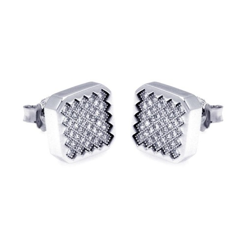 Wholesale Sterling Silver 925 Rhodium Plated Micro Pave Clear Round CZ Hoop Earrings - ACE00055