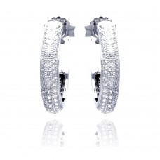 Sterling Silver Rhodium Plated Micro Pave Clear Round CZ Hoop Earring ace00056