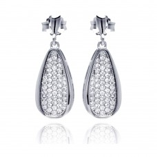 Sterling Silver Rhodium Plated Micro Pave Clear Teardrop CZ Dangling Stud Earring ace00057