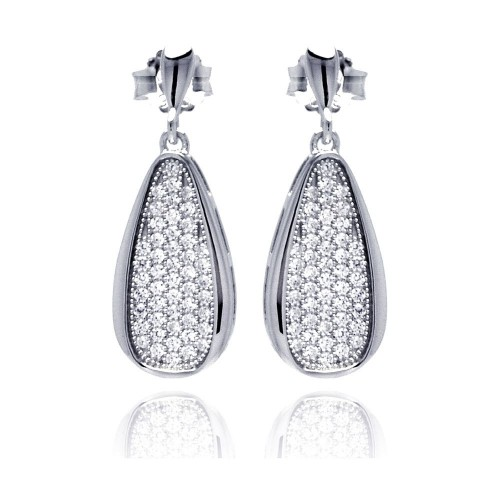 Wholesale Sterling Silver 925 Rhodium Plated Micro Pave Clear Teardrop CZ Dangling Stud Earrings - ACE00057