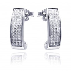 Sterling Silver Rhodium Plated Micro Pave Clear Round Rectangle CZ Stud Earring ace00058