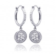 Sterling Silver Rhodium Plated Micro Pave Clear Round CZ Wire Dangling Huggie Earrings - ACE00059