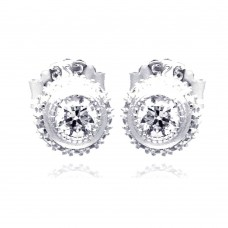 Sterling Silver Rhodium Plated Micro Pave Clear Round CZ Stud Earring ace00060