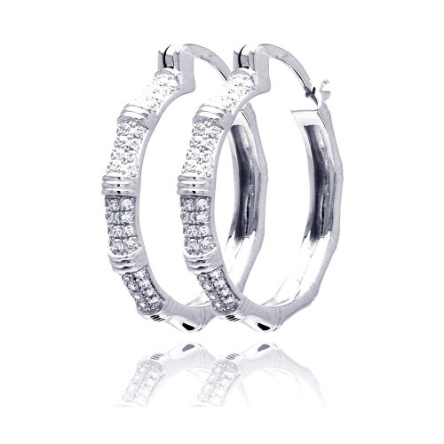 Wholesale Sterling Silver 925 Rhodium Plated Micro Pave Clear CZ Hoop Earrings - ACE00062