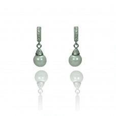 Wholesale Sterling Silver 925 Rhodium Plated Round Clear CZ Synthetic Pearl Dangling Stud Earrings - STE00902