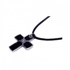 **Closeout** Sterling Silver Rhodium Plated Black Enamel Cross Clear CZ Black Cord Pendant Necklace - BGN00001