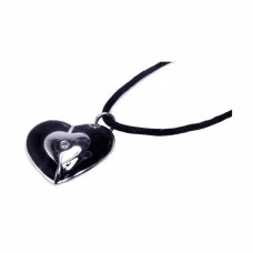 Sterling Silver Rhodium Plated Black Enamel Heart Clear CZ Black Cord Pendant Necklace - BGN00002