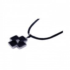 **Closeout** Sterling Silver Rhodium Plated Black Enamel Cross Clear CZ Black Cord Pendant Necklace - BGN00003