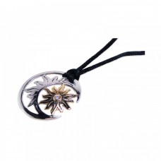 Wholesale Sterling Silver 925 Rhodium and Gold Plated Sun Moon Clear CZ Black Cord Pendant Necklace - BGN00004