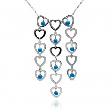 **Closeout** Sterling Silver Rhodium Plated Multi Heart Strand Turquoise Bead CZ Pendant Necklace - BGN00007