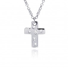**Closeout** Sterling Silver Rhodium Plated High Polish Cross Multi Sized Clear CZ Pendant Necklace - BGN00013