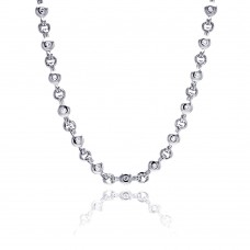 **Closeout** Sterling Silver Rhodium Plated Clear Round CZ Link Necklace - BGN00017