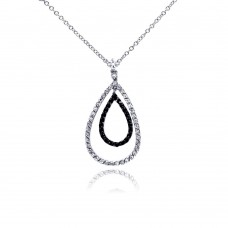 **Closeout** Sterling Silver Rhodium and Black Rhodium Plated Clear and Black CZ Open Teardrop Pendant Necklace - BGN00019
