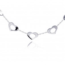 **Closeout** Sterling Silver Rhodium Plated Open Multi Heart Pendant Necklace - BGN00020