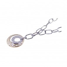 **Closeout** Sterling Silver Rhodium and Gold Plated Open Hammered Circle Pendant Necklace - BGN00024