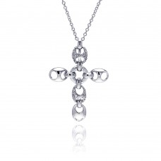 **Closeout** Sterling Silver Rhodium Plated Open Oval Clear CZ Cross Pendant Necklace - BGN00027