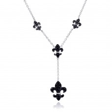 Wholesale Sterling Silver 925 Rhodium and Black Rhodium Plated Black CZ Fleur De Lis Pendant Necklace - BGN00041