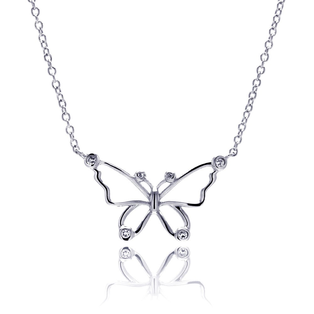 silver rhodium plated open butterfly outline clear cz pendant
