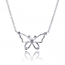 Wholesale Sterling Silver 925 Rhodium Plated Open Butterfly Outline Clear CZ Pendant Necklace - BGN00042