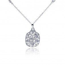 **Closeout** Sterling Silver Rhodium Plated Open Square Antique Clear CZ Pendant Necklace - BGN00047