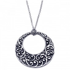 **Closeout** Sterling Silver Rhodium Plated Open Circle Flower Design Pendant Necklace - BGN00048
