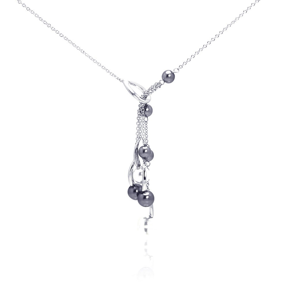 Wholesale Sterling Silver 925 Rhodium Plated Multi Pearl Drop Pendant Necklace - BGN00051