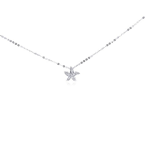 Wholesale Sterling Silver 925 Clear CZ Rhodium Plated Star Fish Pendant Necklace - BGP00002