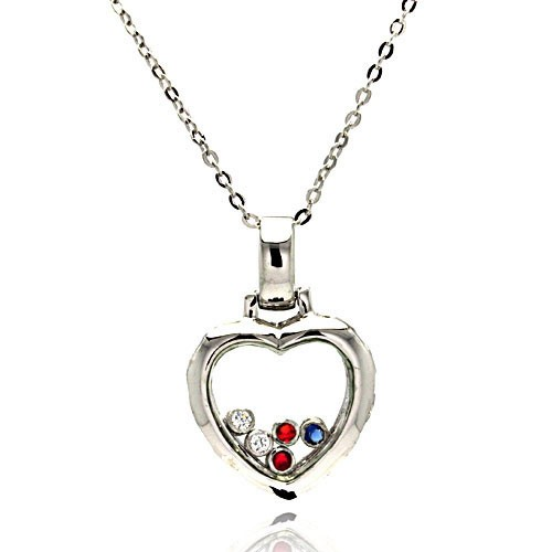 Wholesale Sterling Silver 925 Floating Multi Color CZ Rhodium Plated Heart Pendant Necklace - BGP00005