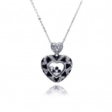 Sterling Silver Floating Clear CZ Black Rhodium Plated Heart Pendant Necklace - BGP00006