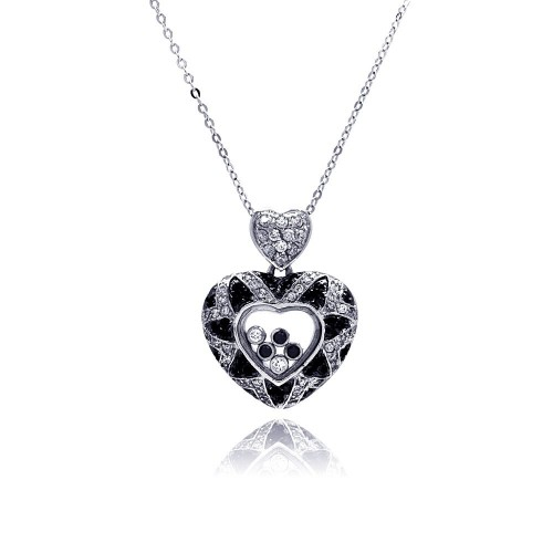 Wholesale Sterling Silver 925 Floating Clear CZ Black Rhodium Plated Heart Pendant Necklace - BGP00006