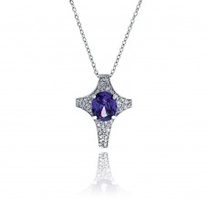 **Closeout** Wholesale Sterling Silver 925 Tanzanite CZ Rhodium Plated Cross Pendant Necklace - BGP00009PUR